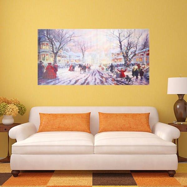 Christmas Carol Crowd Street Frameless Painting