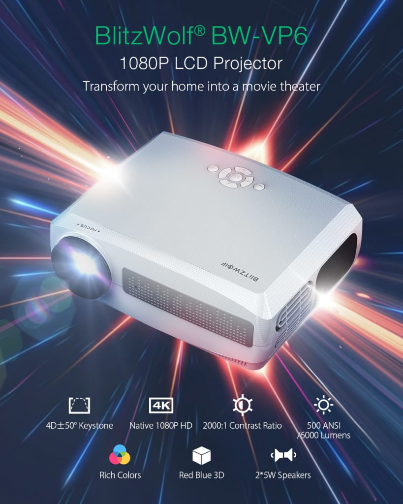 Lcd Projector 6000 Lux full Hd 300 Native Projector ±50°