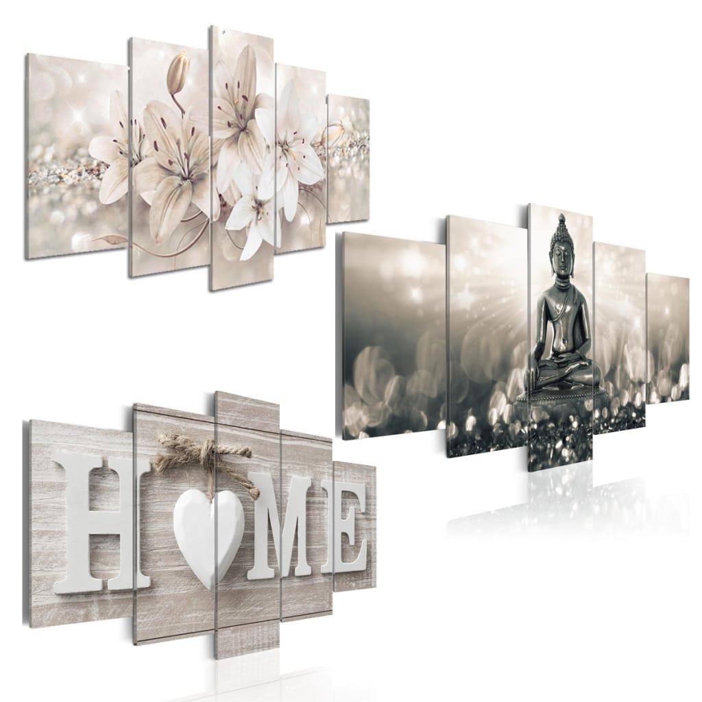 5 Panels Home Decorations Flowers Art Prints Picture Canvas
