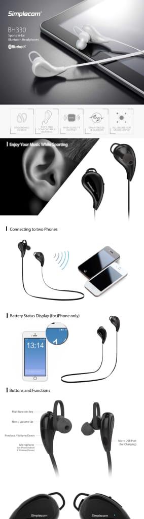 Simplecom Bh330 Sports In-ear Bluetooth Stereo Headphones
