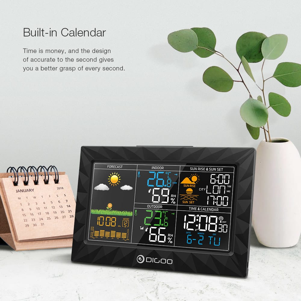 Lcd Color Weather Station + Outdoor Remote Sensor