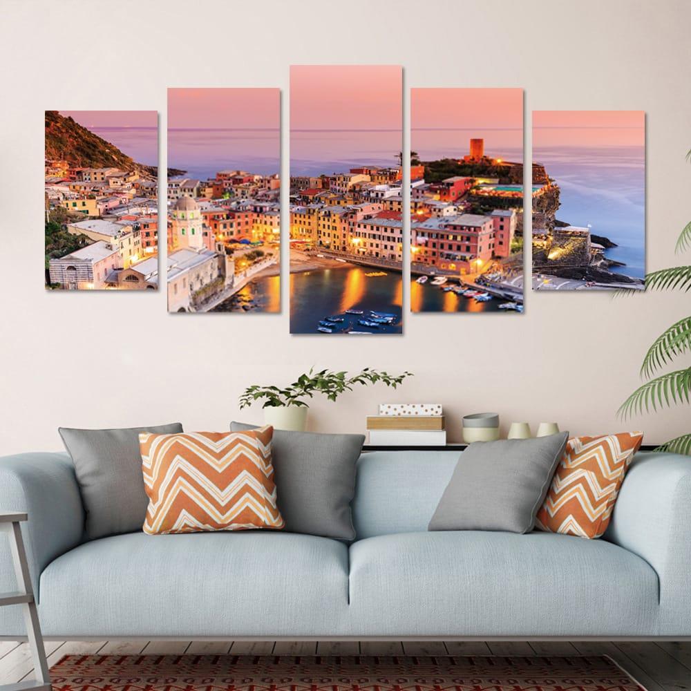 5 Panel Frameless Print Italian Town Oil Paintings Unframed