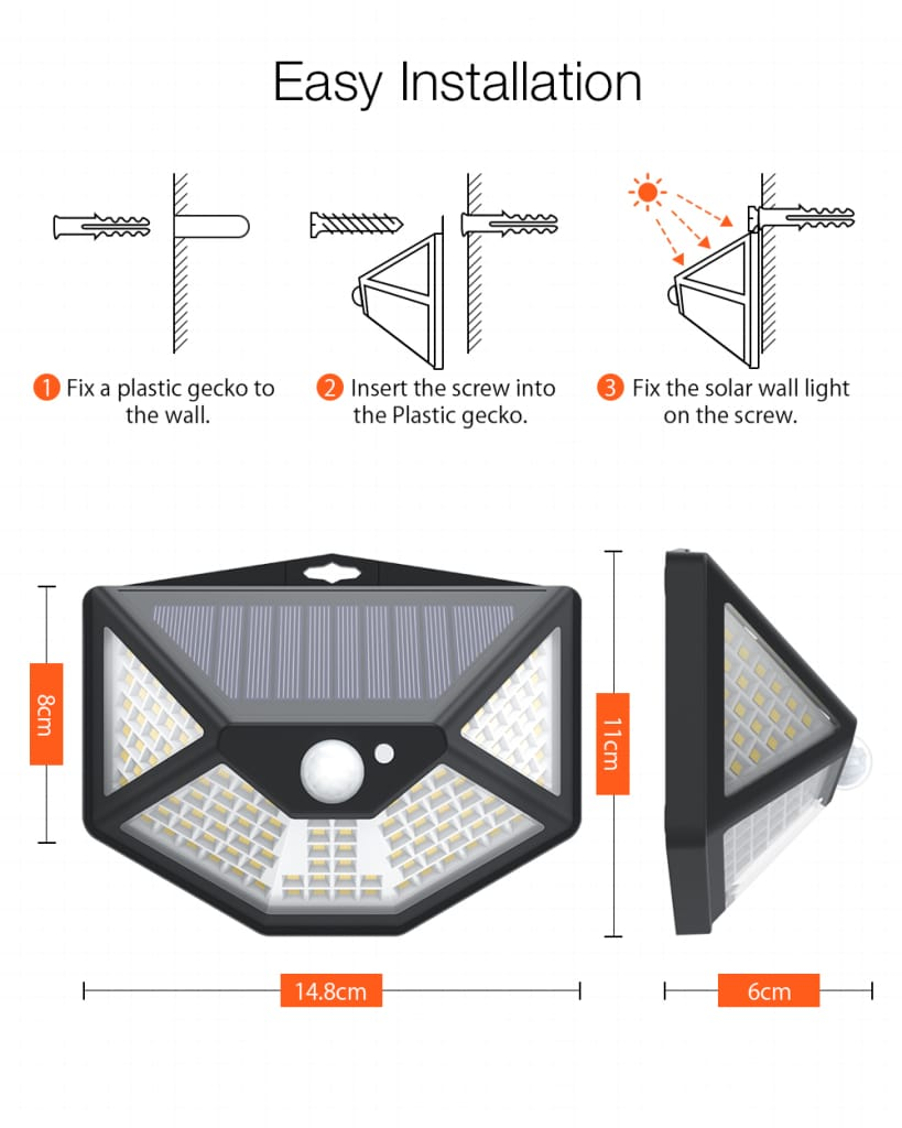 Pir Sensor 112 Led Solar Wall Lamp Five-direction