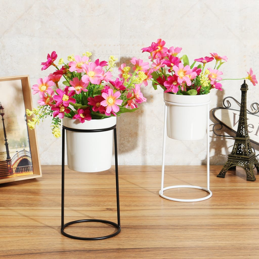 Gardening Ceramic Flower Pot Metal Rack Garden Plant Planter