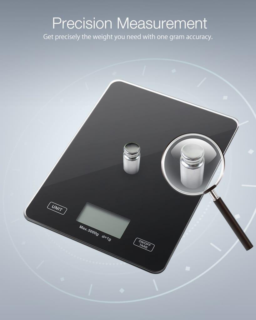 Digital Kitchen Toughened Glass Scale 1g/5kg Food Scale Slim
