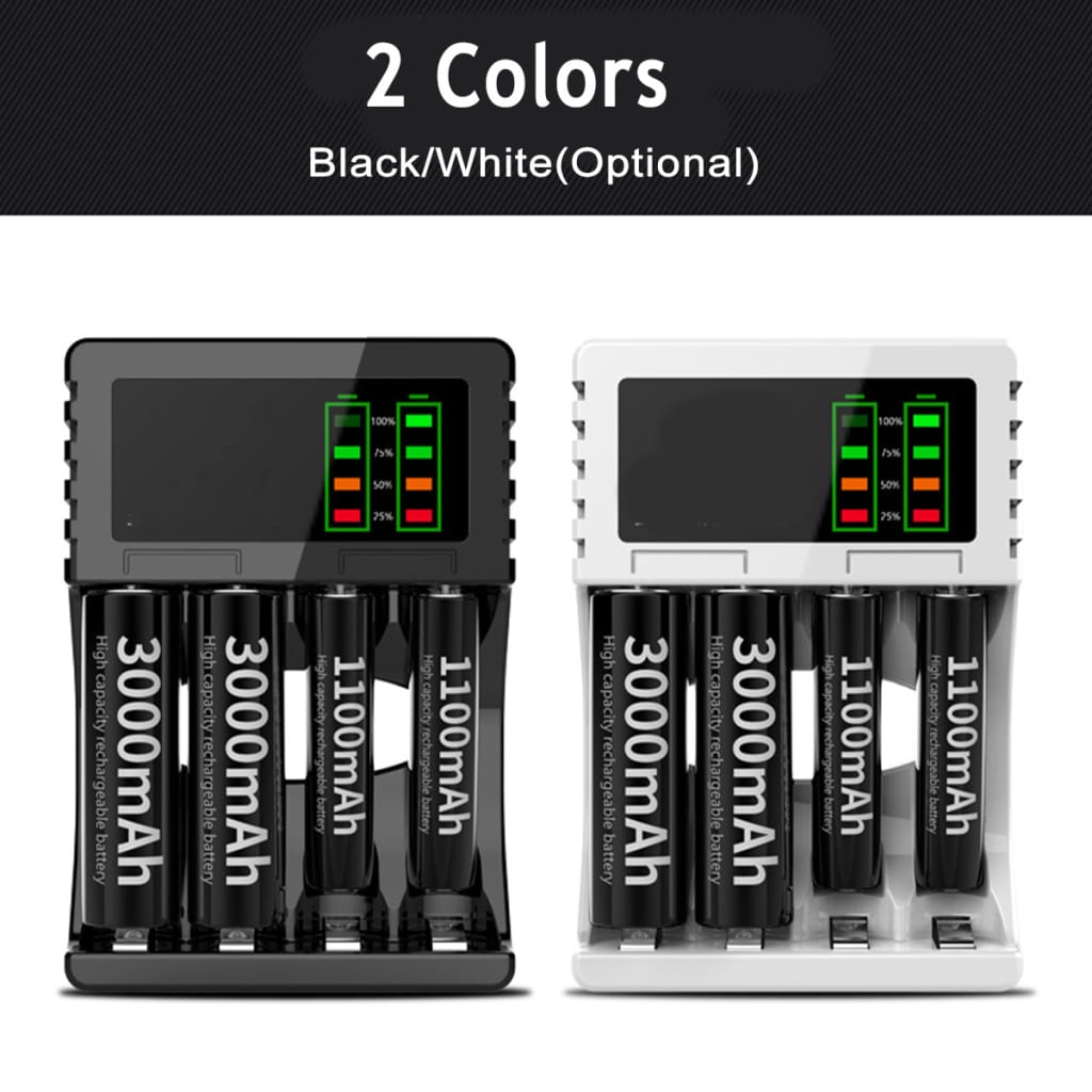 Usb Rechargeable Battery Charger - 2 Colours