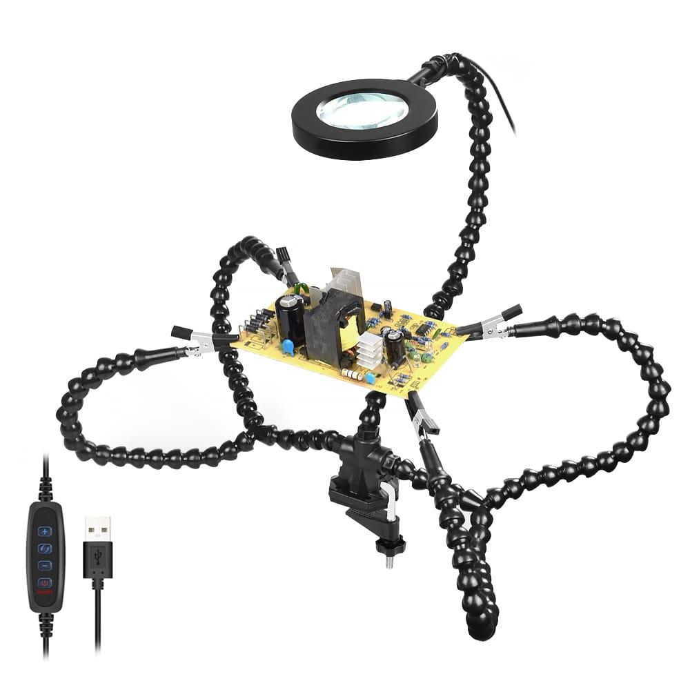 Newacalox Desk Clip Pcb Soldering Holder 3x Magnifier 3