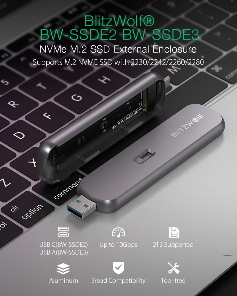 Nvme Ssd External Enclosure M-key Aluminum Alloy Type-c