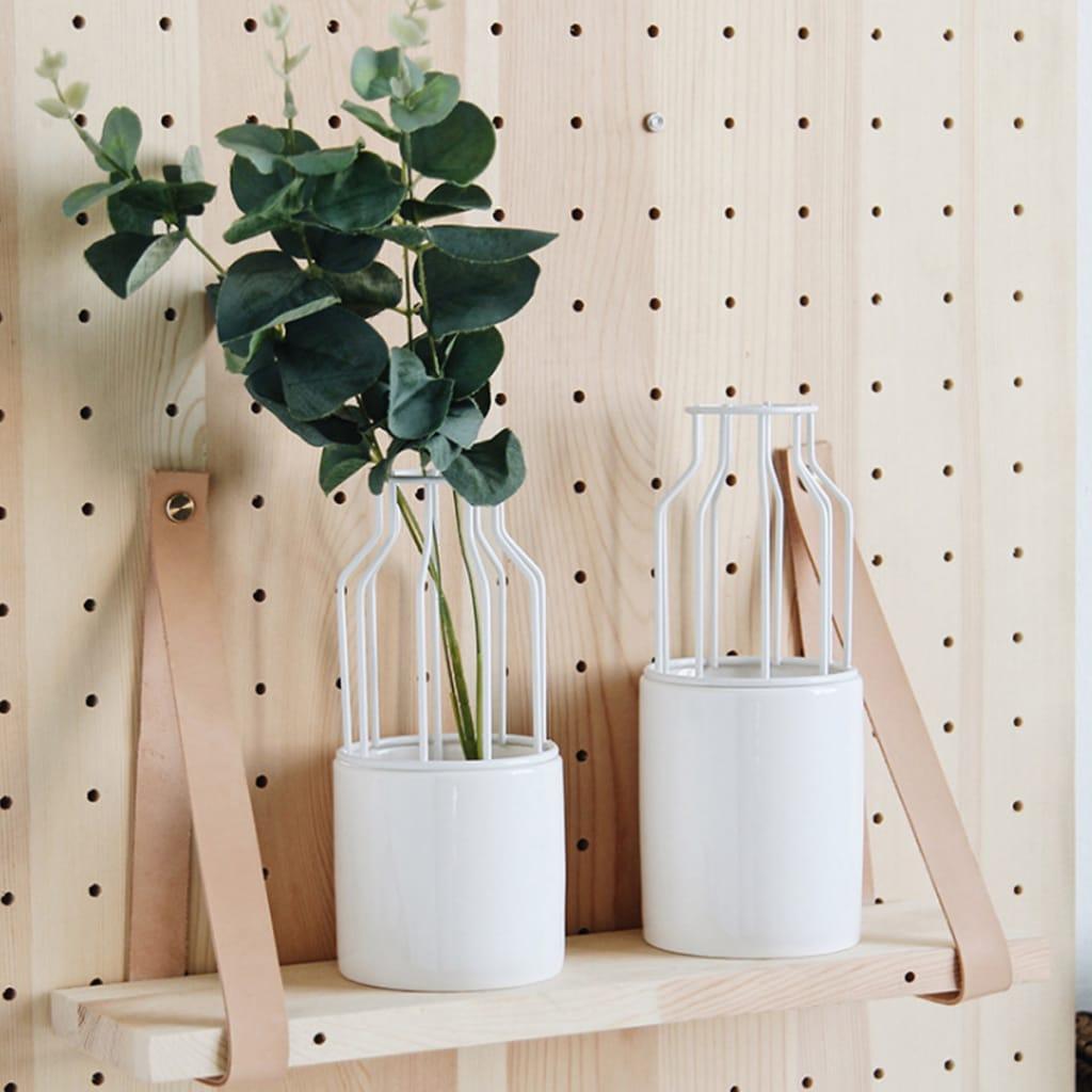 Ceramic Flower Pot +geometric Metal Rack Home Garden Plant
