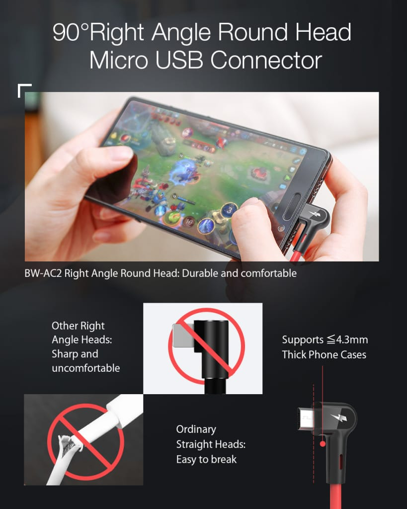 Blitzwolf® Micro Usb Data Cable for Gaming Mobile Phone - 2