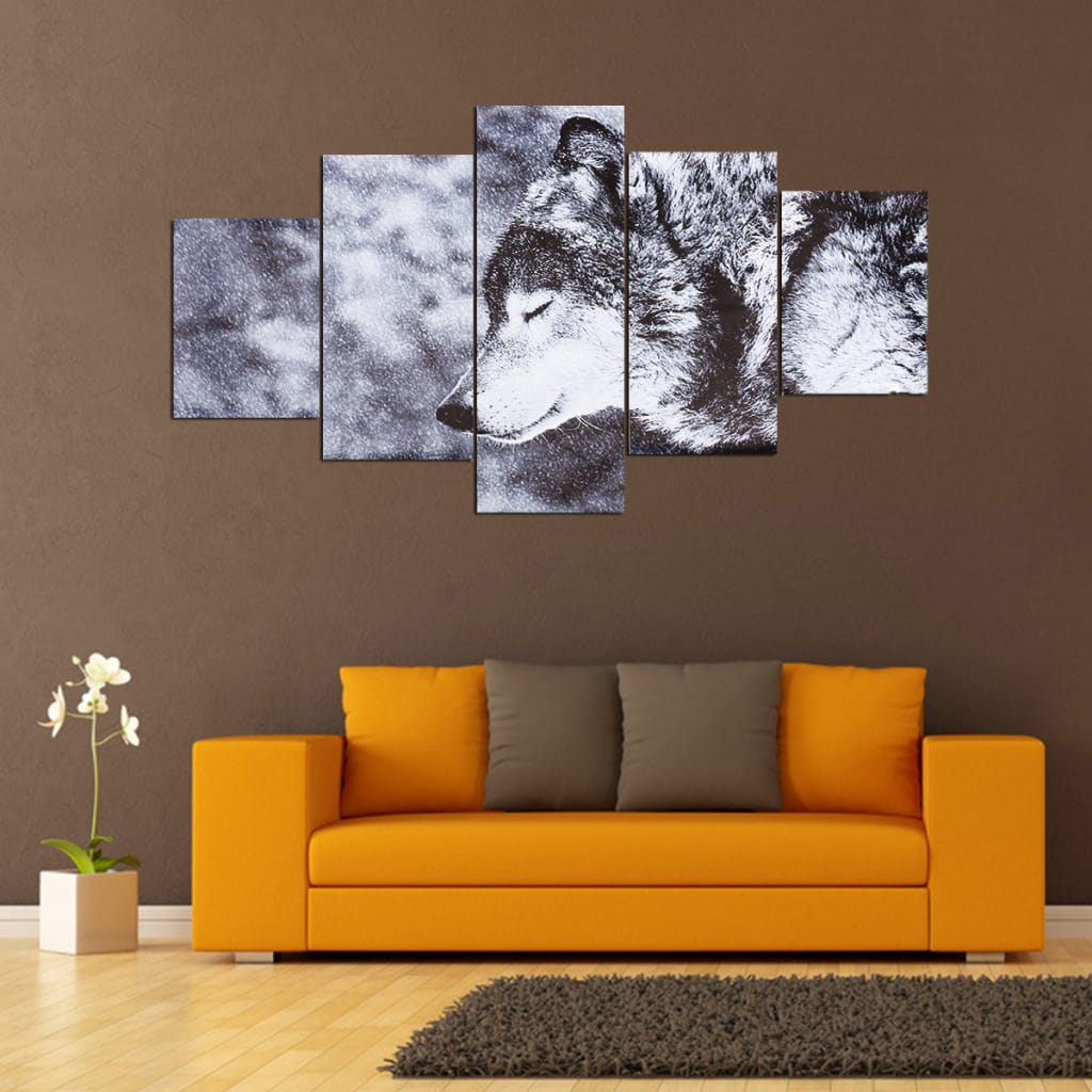 5pcs Black and White Ton Wolf Canvas Print Wall Art Animal