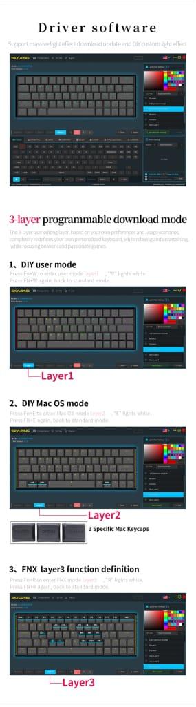 Mechanical Gaming Keyboard 64 Keys - 12 Options