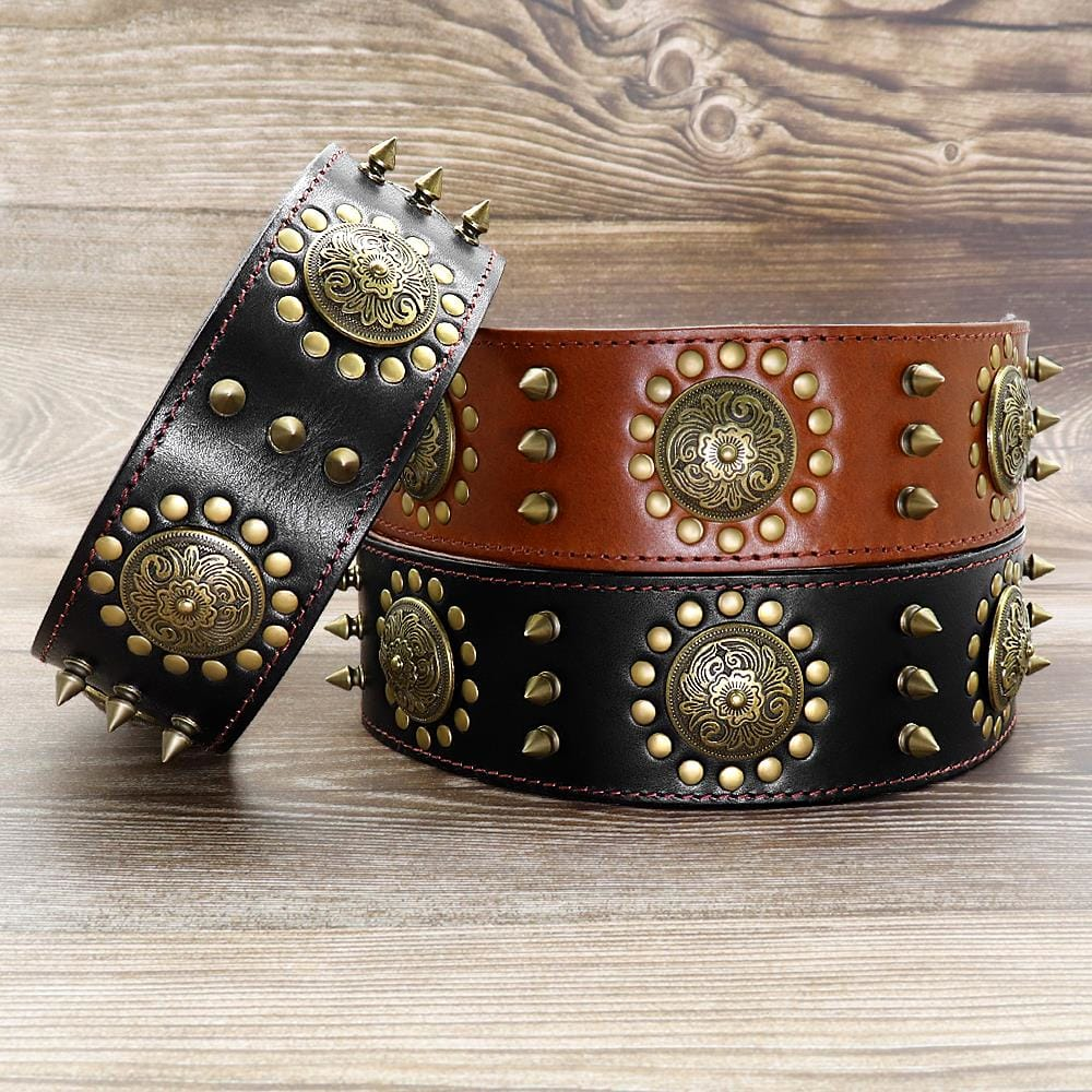 Leather Large Dog Collar Pitbull Spiked Studded Collars for