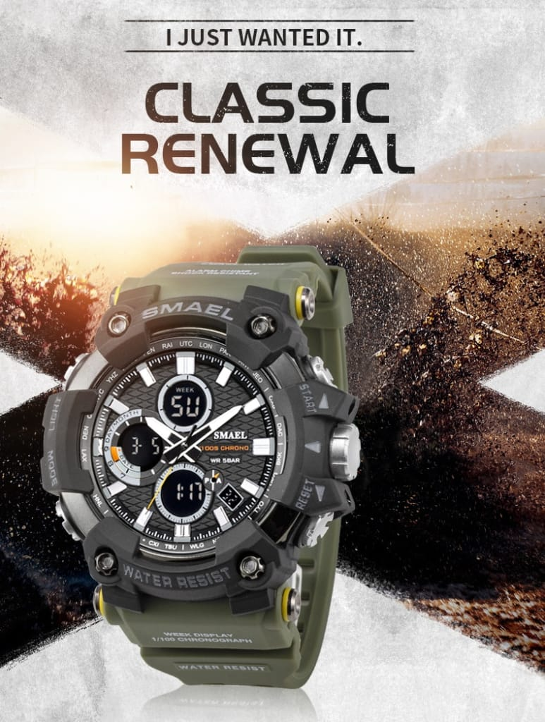 Men's 50m Waterproof Dual Time Sport Wrist Watch - 10