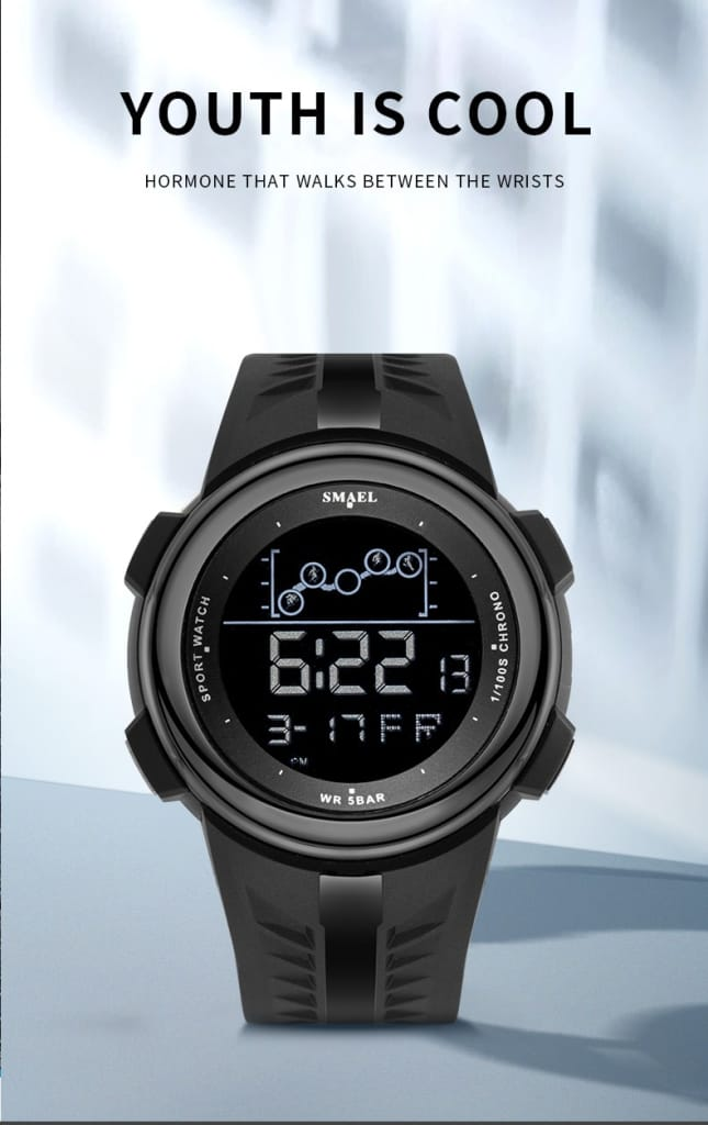 6 in 1 Men's 30m Waterproof Sport Led Digital Wrist Watch -