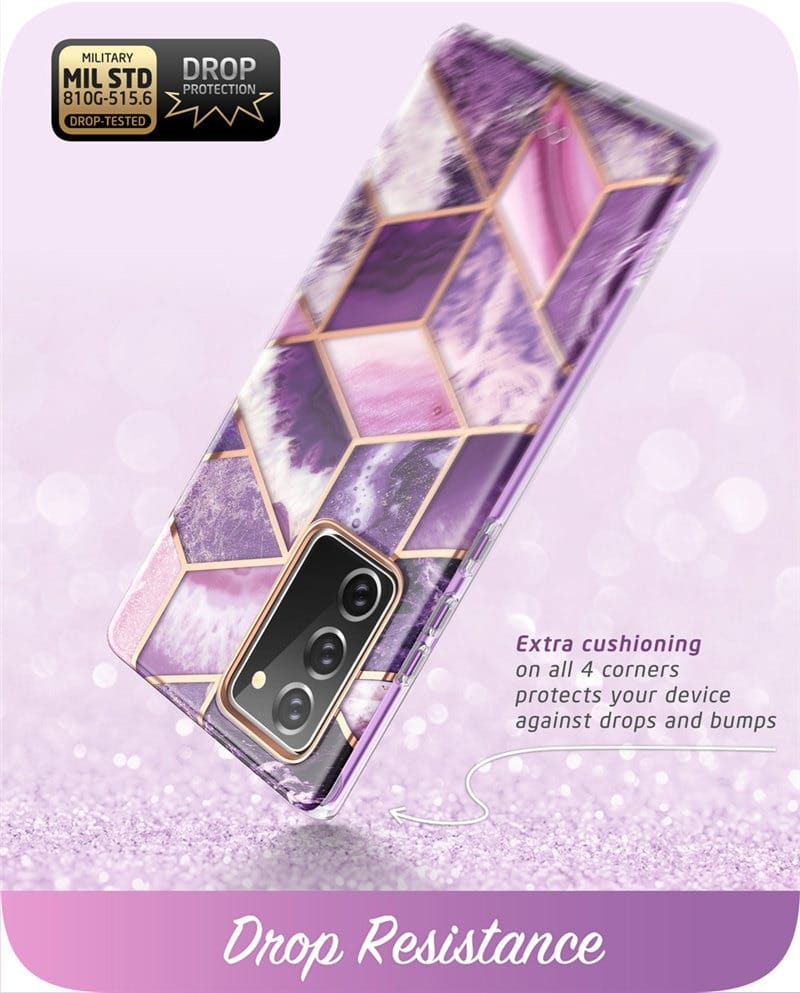 For Samsung Galaxy Note 20 - Full-body Glitter Marble Cover