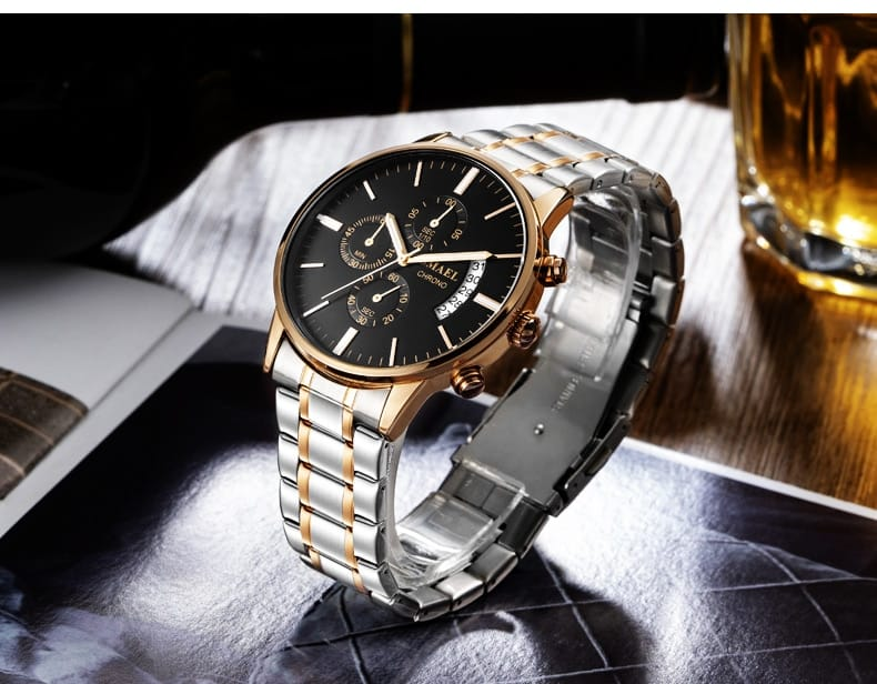 Men's Alloy Stainless Steel Six Needles Wrist Watch - 5