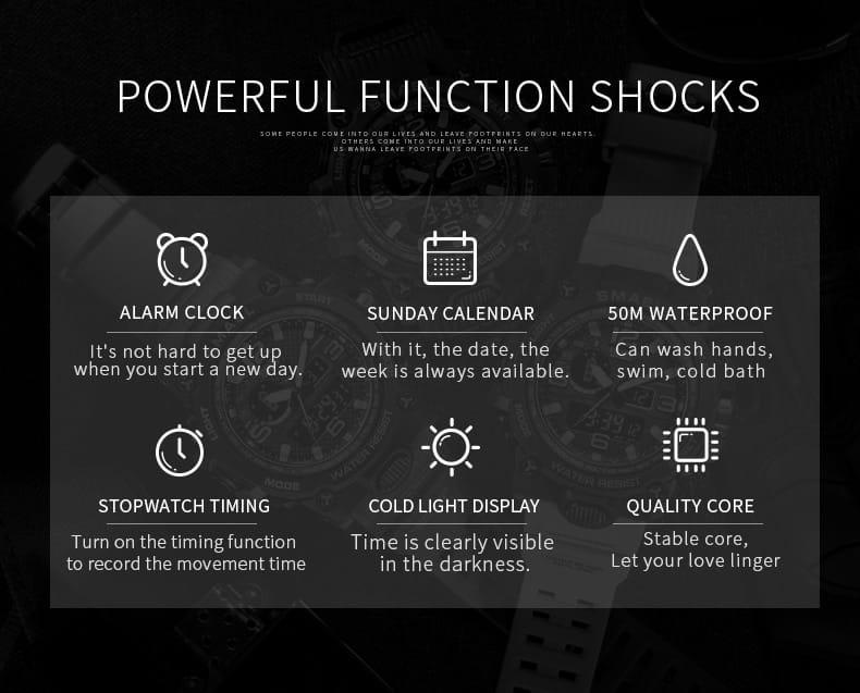 6 in 1 Multi-functional Men's Led Wrist Watch - 16 Colours