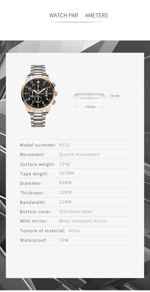 30m Waterproof Men's Automatic Wrist Watch - 5 Colours