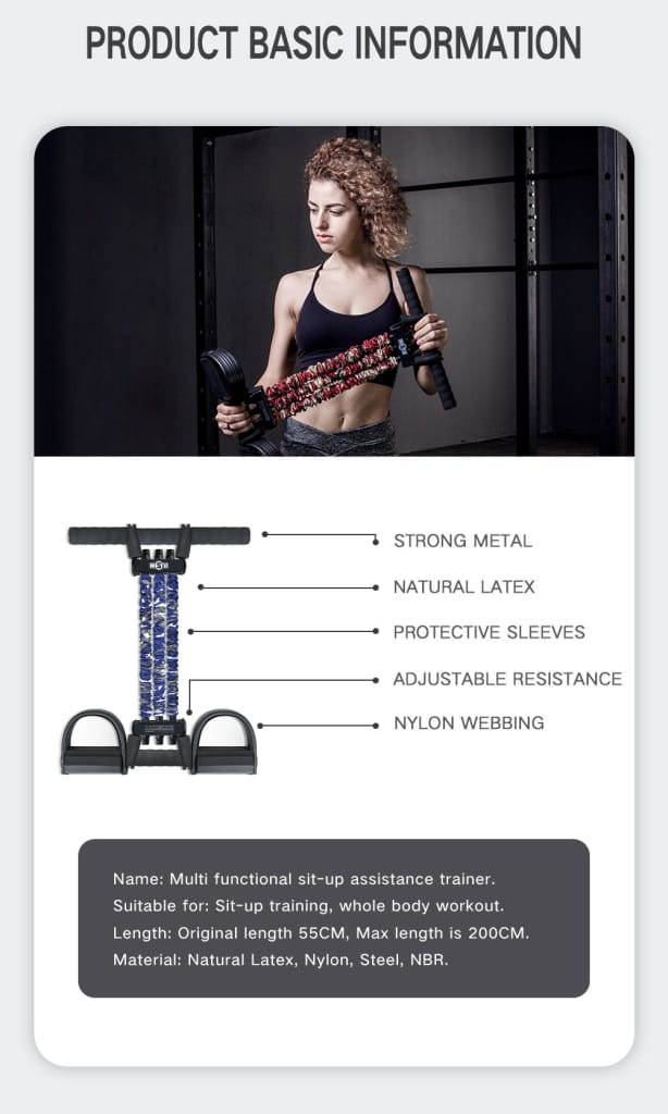 Sit up Assist Resistance Band Equipment Fitness Home Gym