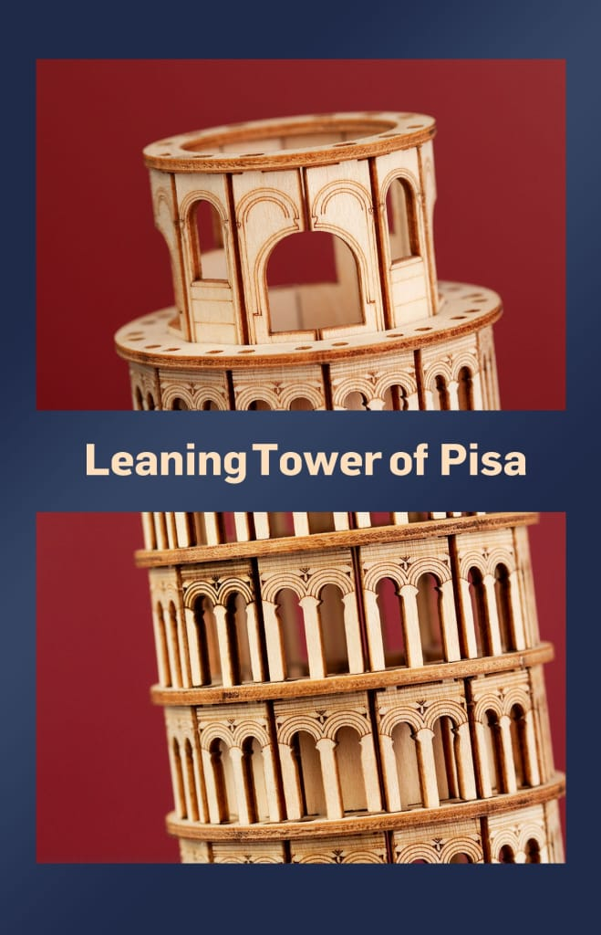 137pcs Diy 3d Leaning Tower of Pisa Wooden Puzzle Game