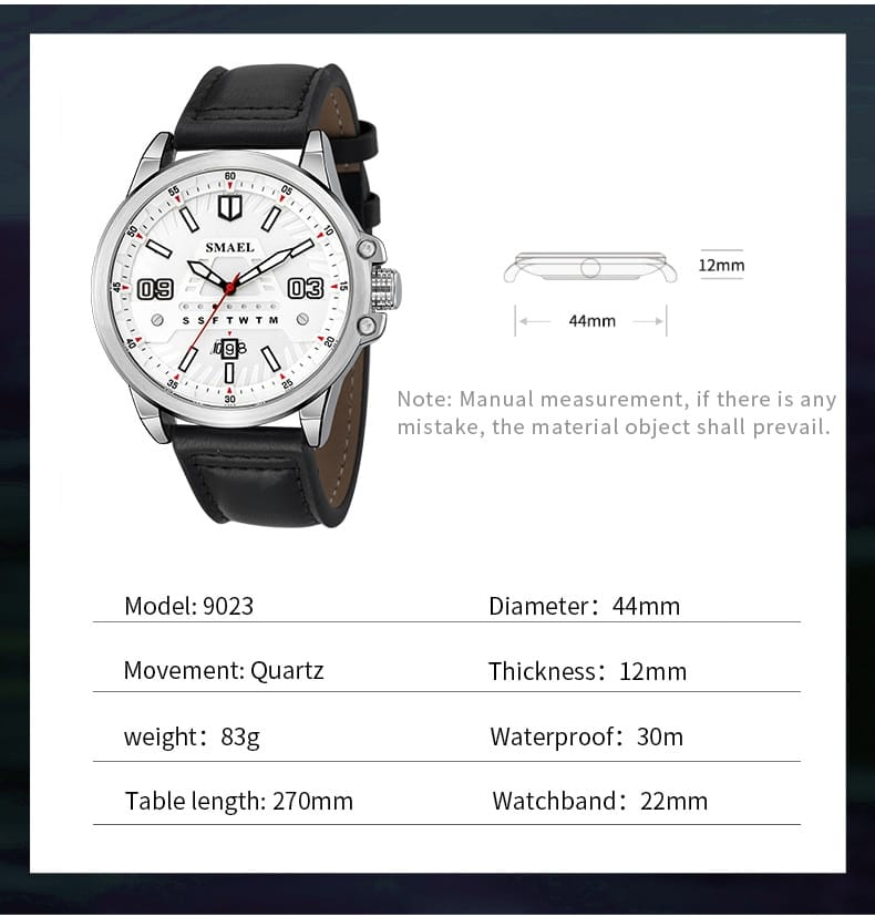 Men's 30m Waterproof Leather Strap Wrist Watch - 5 Colours