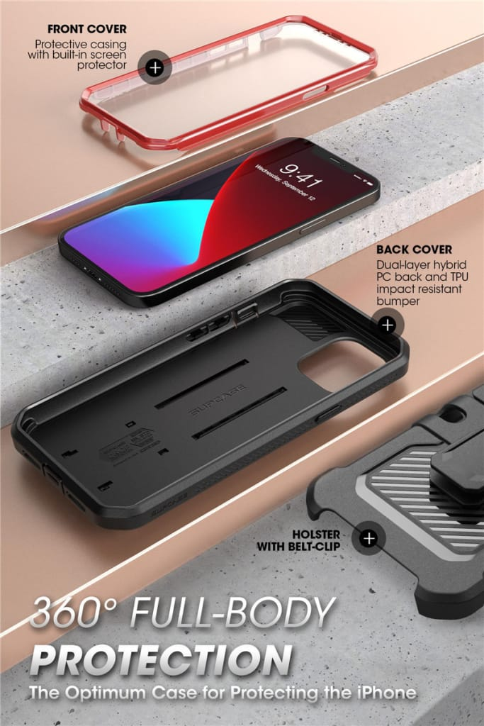 For Iphone 12 Pro Max Rugged Cover W/ Built-in Screen