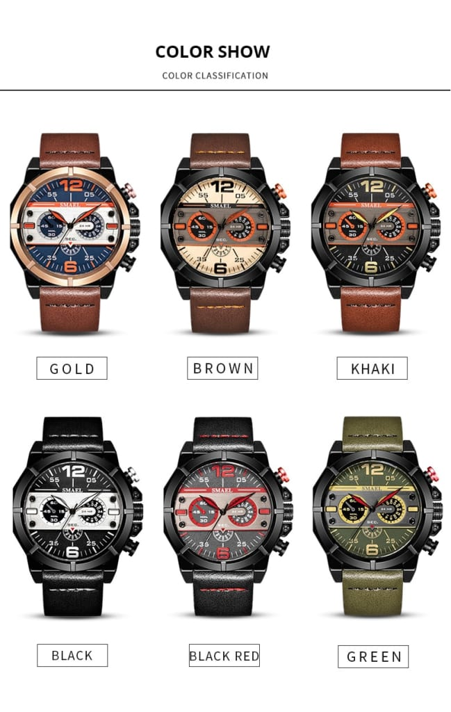 Men's Casual Leather Belt Wrist Watch - 6 Colours