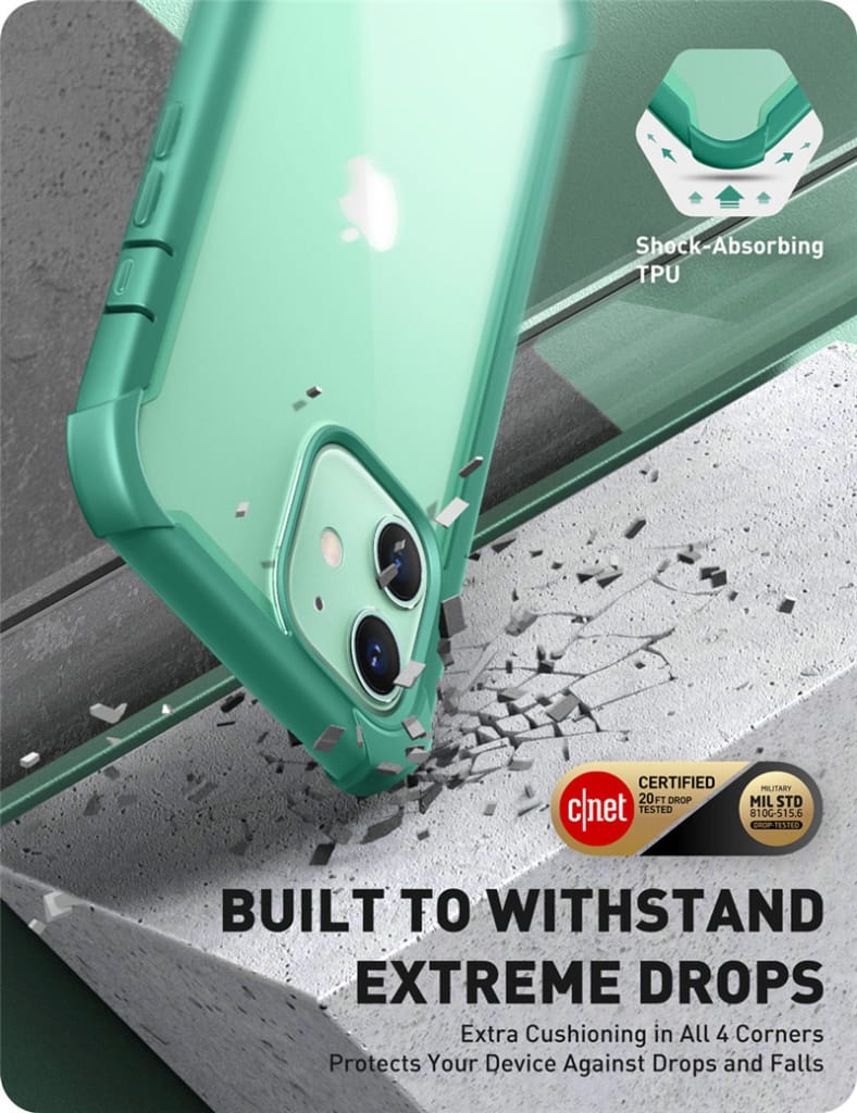 For Iphone 12 Case/12 Pro Rugged Clear Cover W/built-in