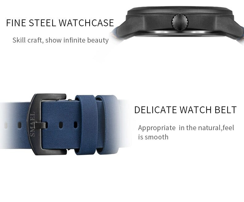 Men's Automatic Leather Band Display Wrist Watch - 5 Colours