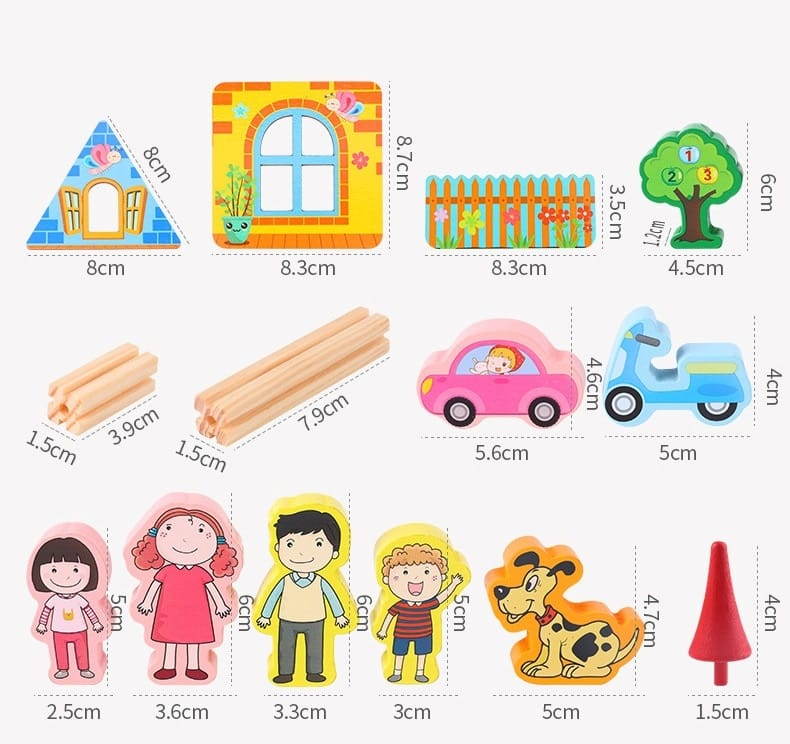 128/268pcs Diy Doll House with Furniture - 2 Options