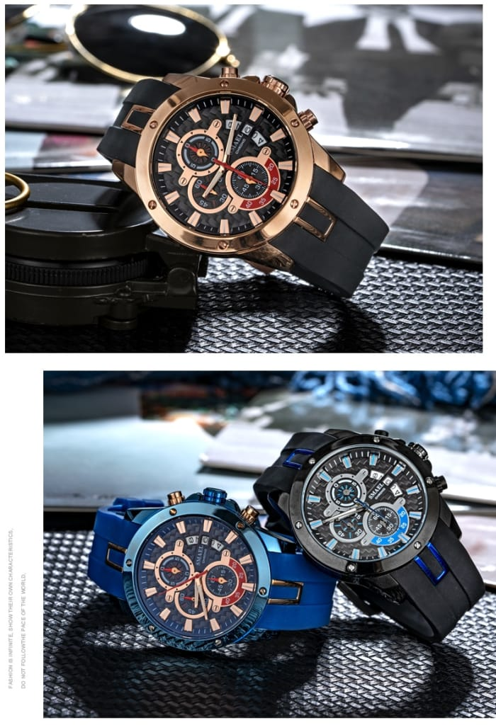 Men's Multi-functional Silicone Display Wrist Watch - 5