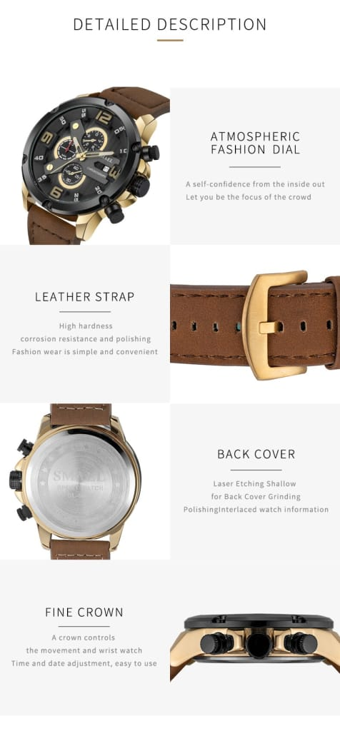 30m Waterproof Men's Leather Wrist Watch - 5 Colours