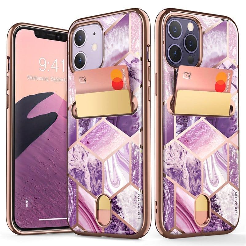 For Iphone 12/iphone 12 Pro Slim Designer Card Slot Wallet