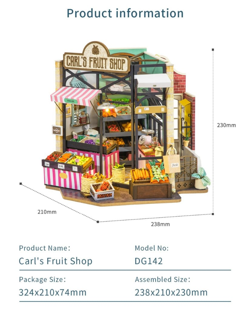 Diy Carl's Fruit Shop Doll House with Furniture Children