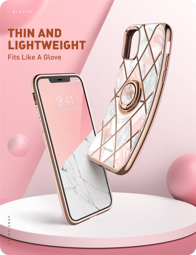For Iphone 11 Pro Max Case W/built-in Rotatable Ring Holder