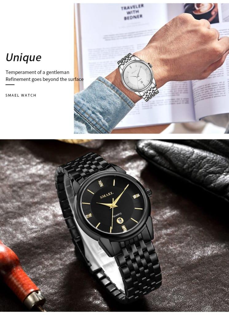 Men's Luxury Steel Date Wrist Watch - 5 Colours