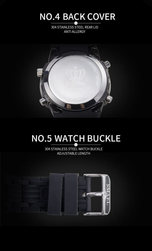 8 in 1 Dual Display Men's Waterproof Led Sports Wrist Watch