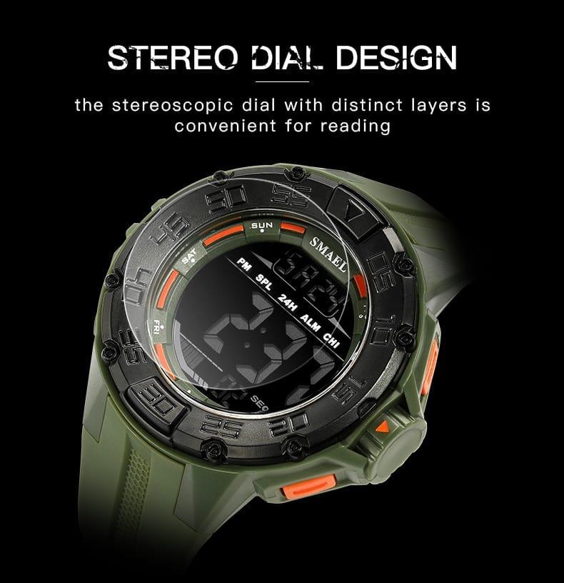 5 in 1 Men's Big Dial Led Digital Wrist Watch - 6 Colours