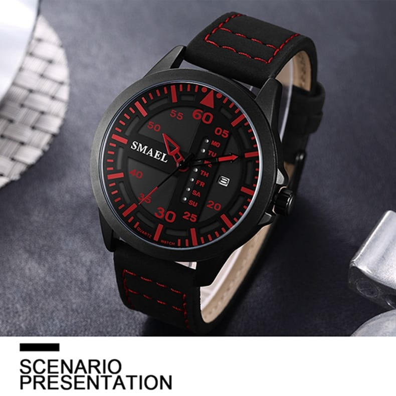 Men's Casual Analog Digital Leather Bracelet Wrist Watch - 4