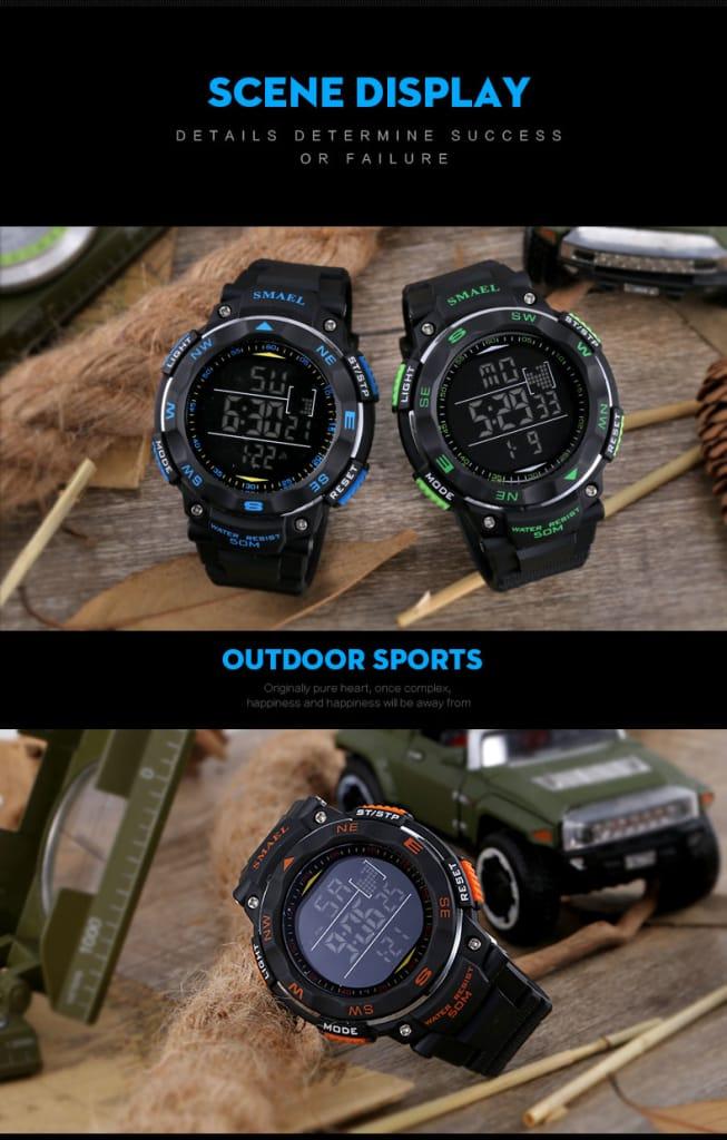 Multi-functional Digital 50m Waterproof Sport Wrist Watch -