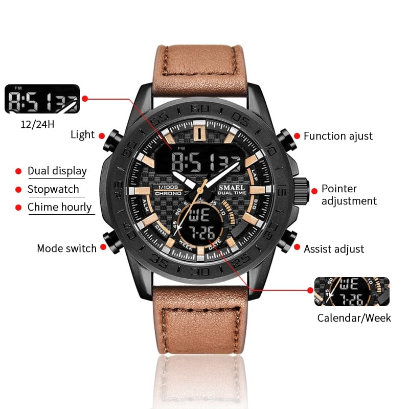 Men's Multi-functional Sport Leather Wrist Watch - 4 Colours