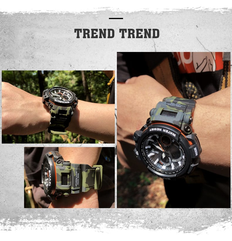 5 in 1 Men's Waterproof Led Digital Sport Wrist Watch - 16
