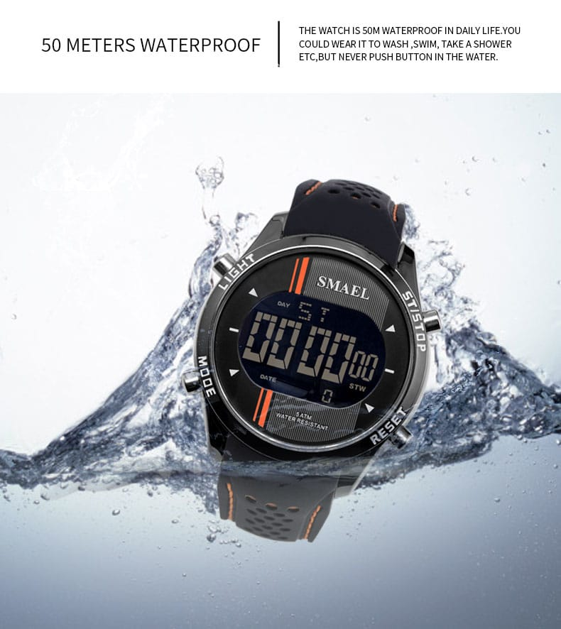 Men's 50m Waterproof Sport Led Digital Wrist Watch - 5