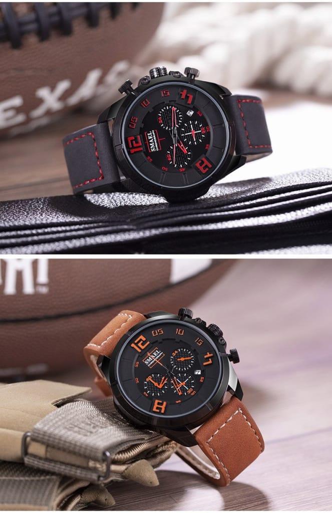 30m Waterproof Men's Casual Sport Leather Wrist Watch - 6