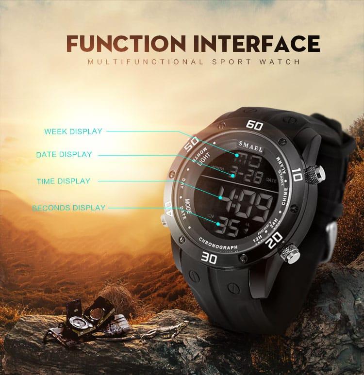 Men's Silicone Alloy Sport Big Dial Digital Wrist Watch -3