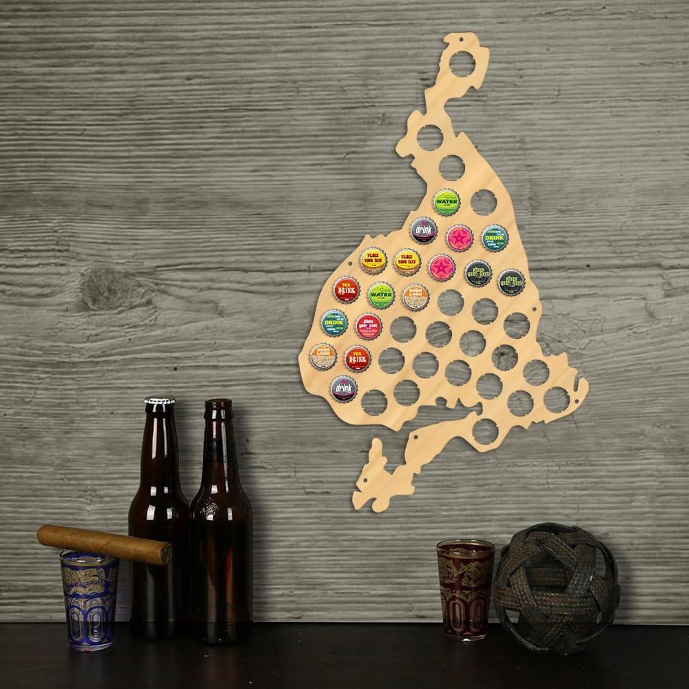 Vestmannaeyjar Shaped Beer Cap Map