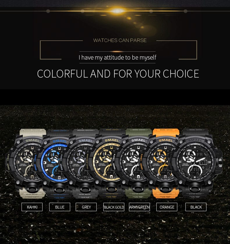 Men's Digital Led Backlight Military Wrist Watch - 7 Colours