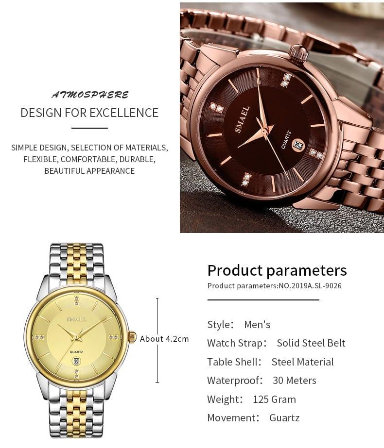 Light Luxury Steel Couple's Waterproof Date Wrist Watch - 5