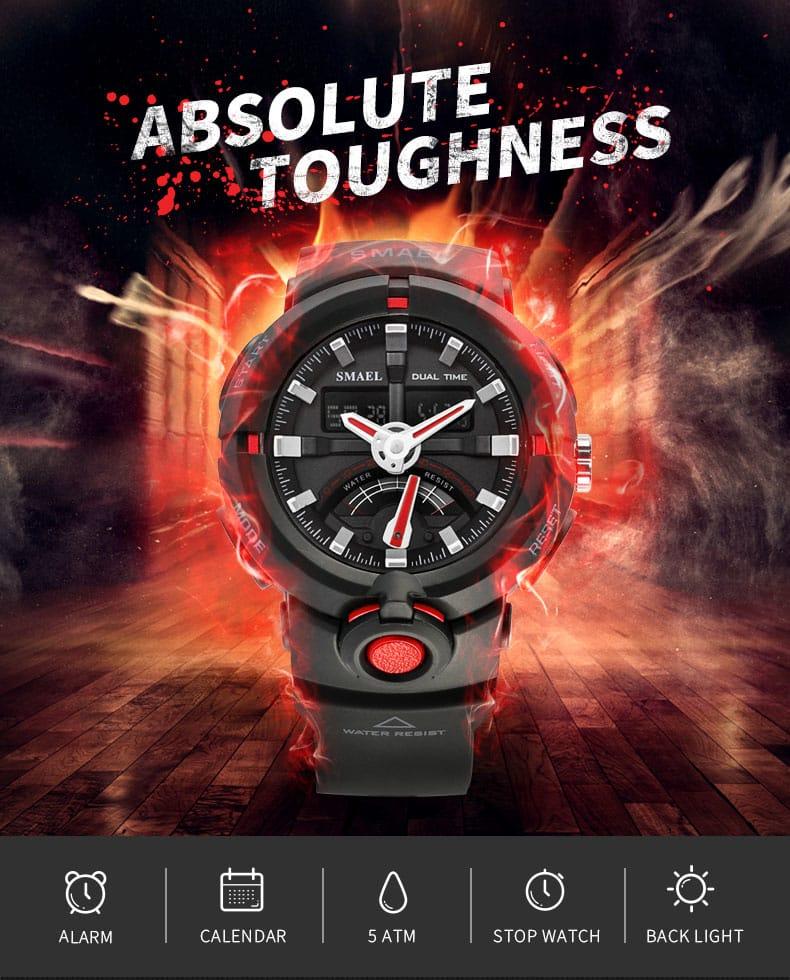 Men Led Analog Alarm Shock Digital Wrist Watch - 7 Colours